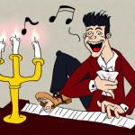 Karikatur am Klavier