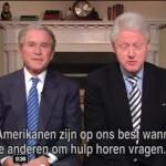 Bush und Clinton versuchen ein Video zu drehen