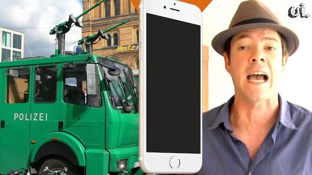 wasserwerfer gegen iphone fanboys