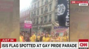 isis flag at gay pride parade london