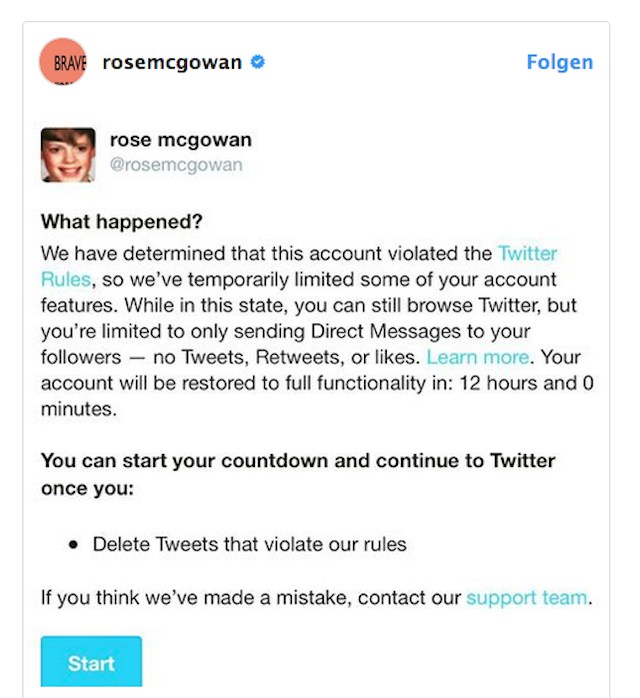 rose mcgowan twitter feed